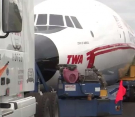 Historic airliner trucked 300 miles to be a hotel bar