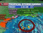 Tropical Storm Hanna moves toward Texas coast