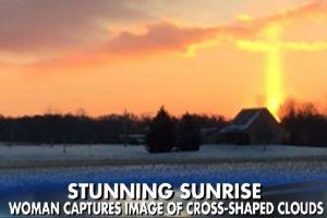 Stunning photo of cross in sunrise